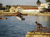 Children Diving in Sea at Waterfront  Stone Town  Zanzibar Town  Zanzibar West  Tanzania