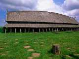 Longhouse in Stave Style at Viking Ring Fortress  Trelleborg  West Zealand  Denmark
