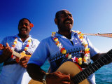Musicians Singing and Playing Guitar and Ukelele  Amedee Islet  South Province  New Caledonia
