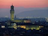 City Skyline  with Palazzo Vecchio  Illuminated at Dusk  Florence  Tuscany  Italy