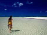 Woman Walking on Beach  Aitutaki  Southern Group  Cook Islands