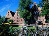 Bicycles in Front of Salzspeicher  Lubeck  Schleswig-Holstein  Germany