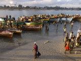 People on Shore Near Fishing Boats  Dar Es Salaam  Tanzania