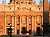 Facade of St Peter's Basilica at Sunrise  Piazza San Pietro  Vatican City  Rome  Lazio  Italy
