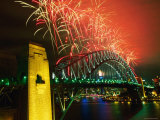 Fireworks over Sydney Harbour Bridge  New Year's Eve  Sydney  New South Wales  Australia