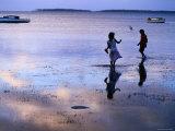 Children Standing in Shallow Tide  Tongatapu Island  Tongatapu Group  Tonga