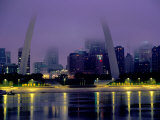 City Skyline in Fog  with Gateway Arch and Mississippi River  St Louis  Missouri