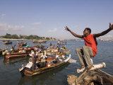 Young Man Clowning Around on Fishing Boat at Kibongoni  Dar Es Salaam  Tanzania