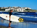Surfer Carrying Surfboard on Bondi Beach  Sydney  New South Wales  Australia