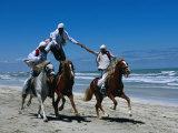 Horse Riding Acrobatics at Traditional Berber Wedding  Djerba Island  Medenine  Tunisia
