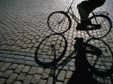 Shade of Cyclist Crossing Amalienborg Slotsplads  Copenhagen  Denmark