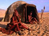 Himba Women in Front of Traditional Hut  Kaokoveld  Kunene  Namibia