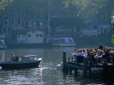 Outdoor Cafe on Canal  Amsterdam  North Holland  Netherlands