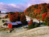 Trees in Autumn at Jenne Farm with Dusting of Snow  South Woodstock  Woodstock  Vermont