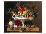 Classical Urn with Gooseberries  Apricots  Nuts and Currants