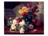 Chrysanthemums and Roses