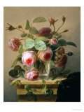 Still Life of Pink Roses in a Glass Vase