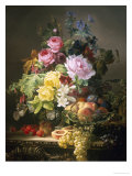 Still Life of Roses  Lilies and Strawberries