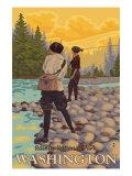Women Fly Fishing  Mt Rainier National Park  Washington