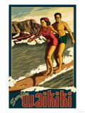 Duke Kahanamoku Surfing Scene  Waikiki  Hawaii