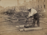Railroad Construction Worker Straightening Track  c1862