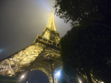 Nighttime View Looking up at Eiffel Tower  Paris  France