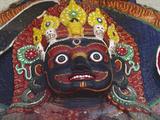 Close-up of Statue of Kalbairab at a Hindu Shrine  Katmandu  Nepal