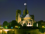 Full Moon over Notre Dame Cathedral at Night  Paris  France