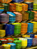 Bowls and Plates on Display  for Sale at Vendors Booth  Spice Market  Istanbul  Turkey