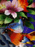 Bird Cloisonne Plate  Hand Made with Tiny Copper Wires and Powered Enamel  China
