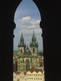 View of Tyn Church in Old Town Square  Prague  Czech Republic