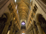 Interior of Notre Dame Cathedral with Pipe Organ in Background  Paris  France