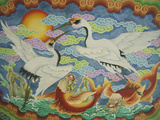 Ceiling Mural of Cranes and Catfish  Nankunshen Temple  Peimen  Taiwan