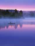 Canoeist on Lake at Sunrise  Algonquin Provincial Park  Ontario  Canada
