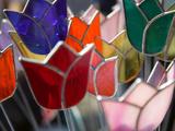 Glass Made Tulip Decoration in Keukenhof Gardens  Amsterdam  Netherlands