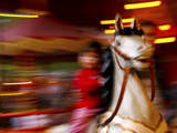 Child on Carousel at Grona Lund Amusement Park  Stockholm  Sweden