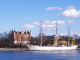Three Mast Ship Af Chapman Moored at Skeppsholmen  Strommen  Stockholm  Sweden