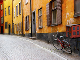Street Scene in Gamla Stan Section with Bicycle and Mailbox  Stockholm  Sweden