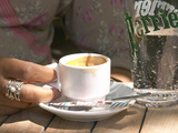 Espresso Coffee Cup and Glass of Perrier Water on Cafe Table  Toulon  Var  Cote d'Azur  France