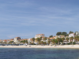 Beach with Palm Trees Along Coast in Bandol  Cote d'Azur  Var  France