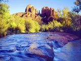 Cathedral Rock Reflecting on Oak Creek  Sedona  Arizona  USA