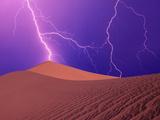 Lightning Bolts Striking Sand Dunes  Death Valley National Park  California  USA
