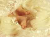 Diffused Effect of Baby Feet  Lacen and Booties