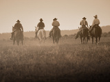 Sepia Effect of Cowboys Riding  Seneca  Oregon  USA