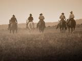 Sepia Effect of Cowboys Riding, Seneca, Oregon, USA Papier Photo par Nancy & Steve Ross
