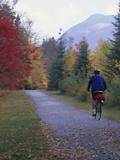 Man Riding on Paved Trail  Franconia Notch  New Hampshire  USA