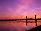 Train Bridge Over Columbia River at Sunrise  Pasco-Kennewick  Washington  USA