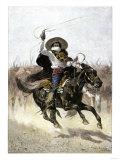 California Vaquero Galloping to Lasso a Steer  c1800