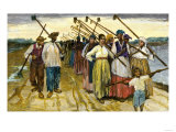 African-American Slaves Returning from the Fields at Twilight on a Sugar Plantation  c1800