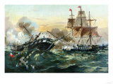 Naval Duel Between the Frigate USS Constitution and the British Ship Guerriere  War of 1812